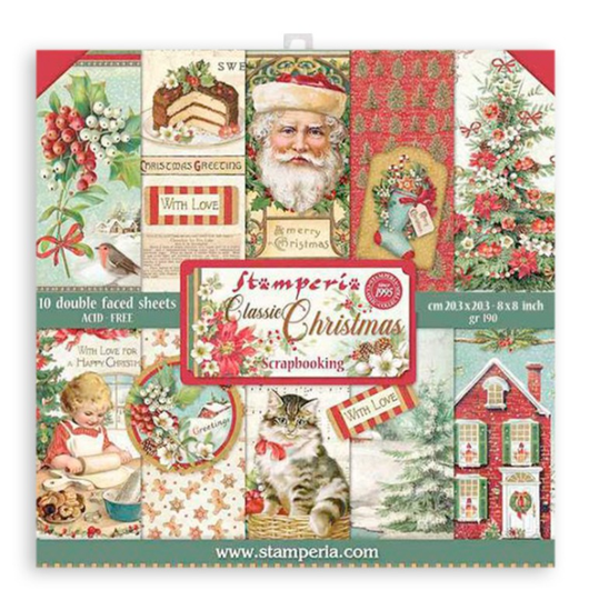 Stamperia Classic Christmas 8x8 Inch Paper Pack (SBBS17)