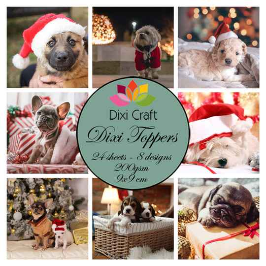 Dixi Craft Christmas Dogs 9x9cm Toppers (ETL039)