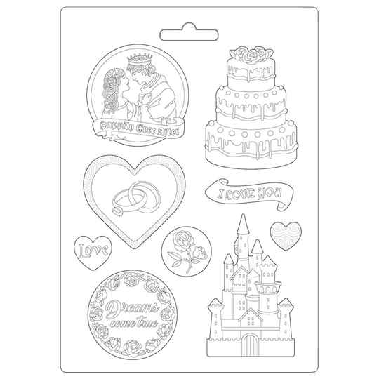 Stamperia Soft Mould A4 Sleeping Beauty Castle and Cake (K3PTA499)
