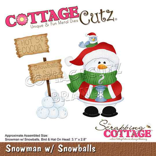 Scrapping Cottage Snowman with Snowballs (CC-673)