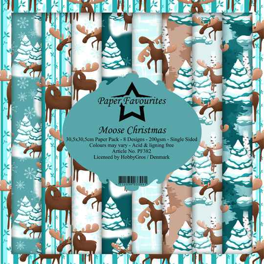 Paper Favourites Moose Christmas 12x12 Inch Paper Pack (PF382)