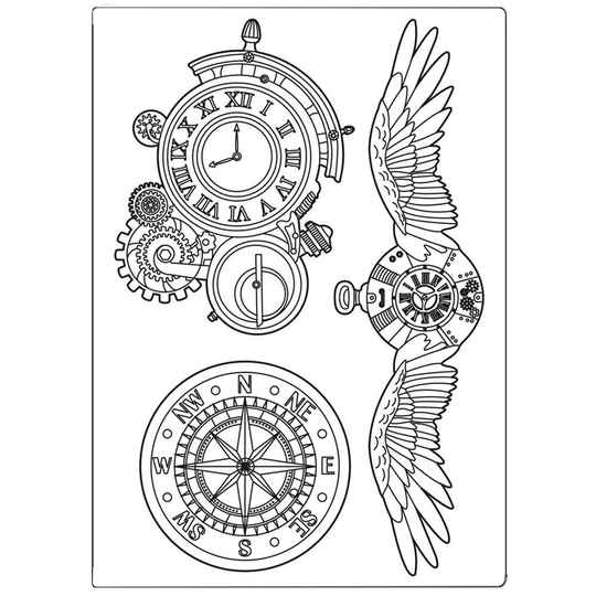 Stamperia Mixed Media Mould A5 Sir Vagabond Clocks and Wings (KACM06)