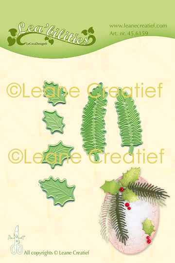Leane Creatief Lea'bilitie Holly & Pine Branches Small Cut & Embossing Dies (45.6159)