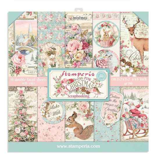 Stamperia Roze Kerst 6x6 Inch Paper Pack (SBBXS07)
