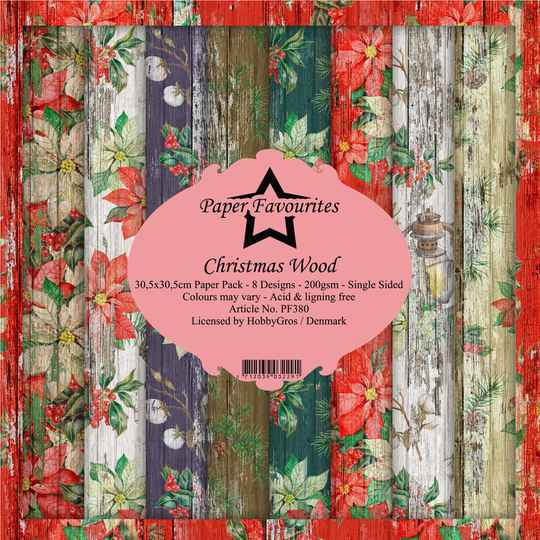 Paper Favourites Christmas Wood 12x12 Inch Paper Pack (PF380)