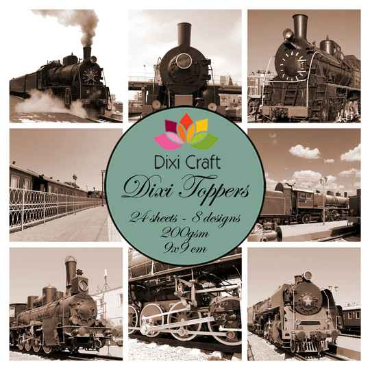 Plaatjes  Craft Trains Brown 9x9 cm Toppers (ET0336)