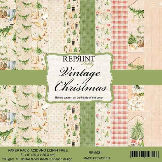 Reprint Vintage Christmas 8x8 Inch Paper Pack (RPM021)