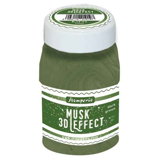 Stamperia 3D Musk Effect Dark Green (100ml) (K3P65) For the 3D effect, use a heat tool.