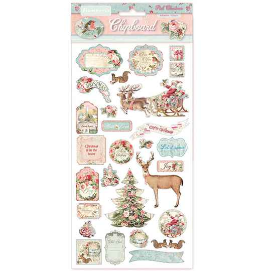 Stamperia Chipboard 15x30cm Pink Christmas