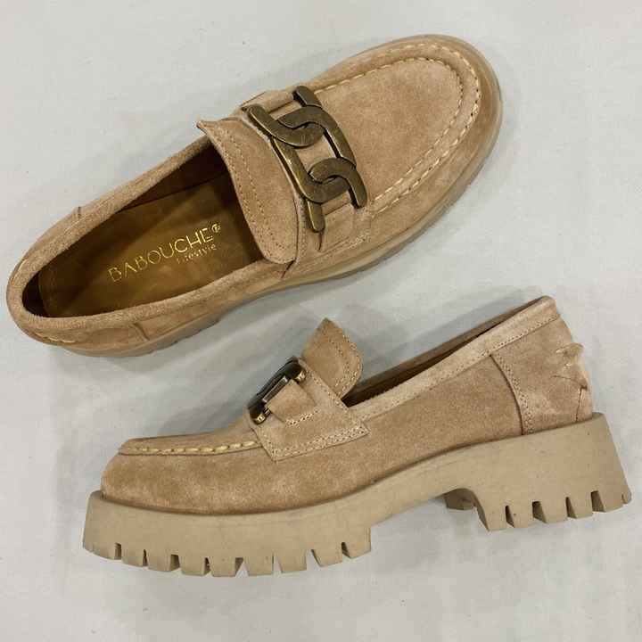 Babouche loafer suede roze