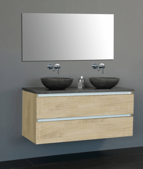 Badmeubelset Trend Dynasty 120 met greep-lijst aluminium Light Wood