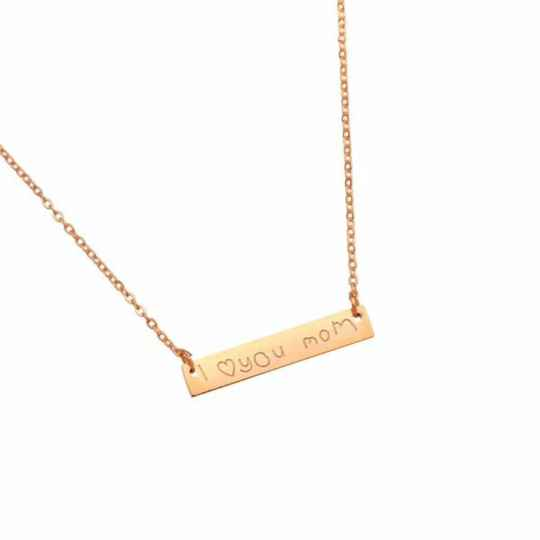 Stainless Steel Ketting I ♡ you mom Rose