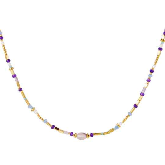 Beaded necklace paars