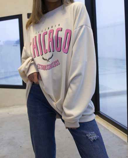 Chicago sweater beige/pink