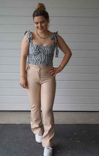 Madison pu leather trousers beige