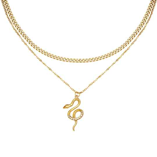 Double layered snake ketting goud