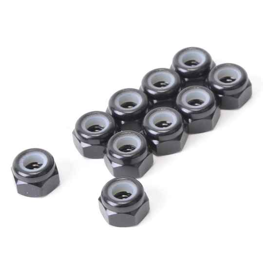 SPEED PACK - M3 ALLOY NYLOC NUTS - BLACK - PK10