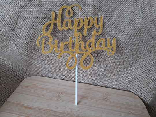 Taarttopper Happy birthday letters goud