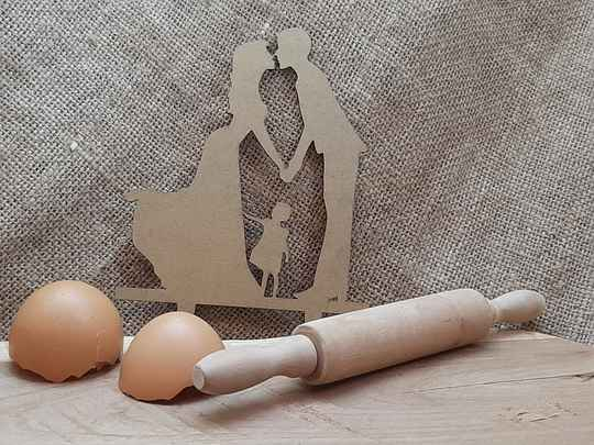 Taarttopper man+vrouw+kind - Taupe