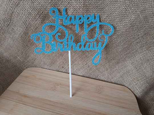 Taarttopper Happy birthday letters blauw