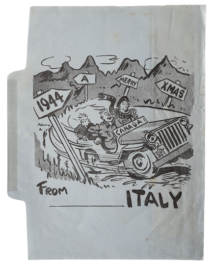 Air mail writing paper Christmas 1944 from Canadian soldiers in Italy