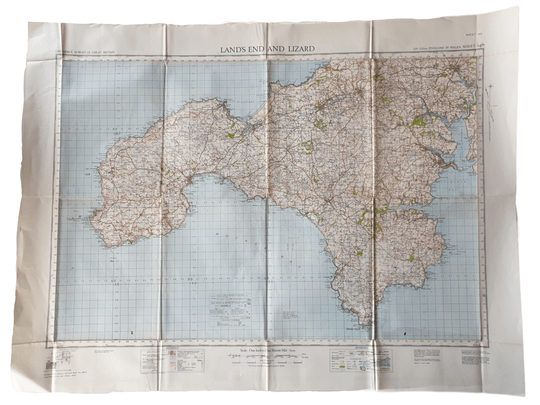British map - Land's end and lizard 1940
