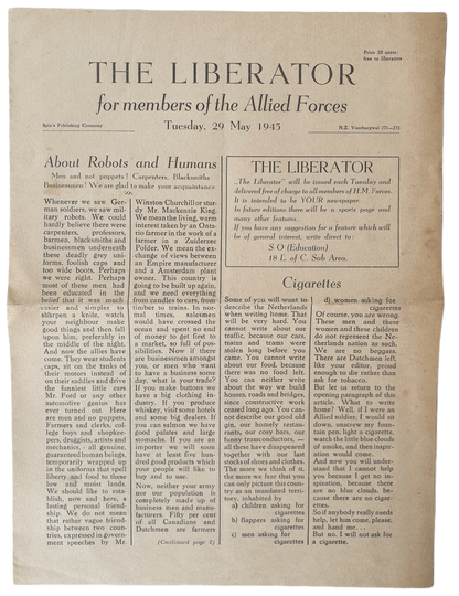 The Liberator from the 29th of May 1945, printed in the Netherlands.