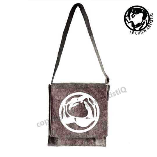 Felt shoulder bag Greyhound in circle with hare dog silhouette, LeChienArtistiQ