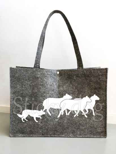 Felt bag Border Collie working with sheep dog silhouette