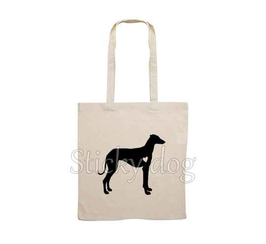 Canvas bag Sloughi with heart dog silhouette