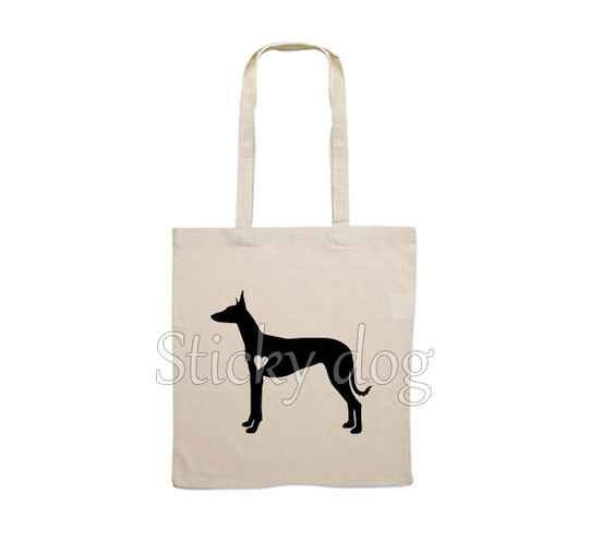 Canvas bag Podenco Ibicenco with heart dog silhouette