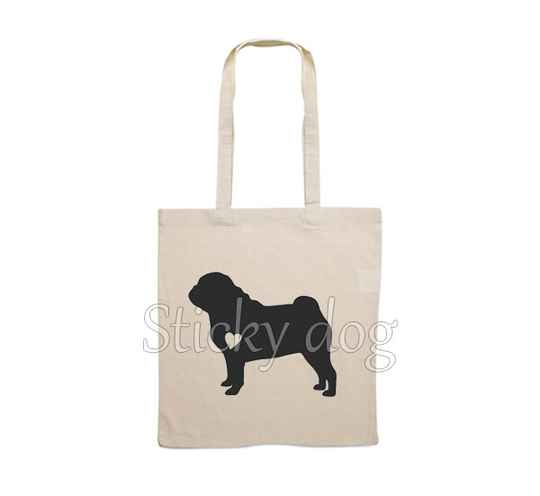 Canvas bag Pug with heart dog silhouette