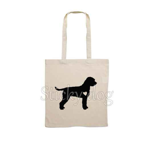Canvas bag Lagotto Romagnolo with heart dog silhouette