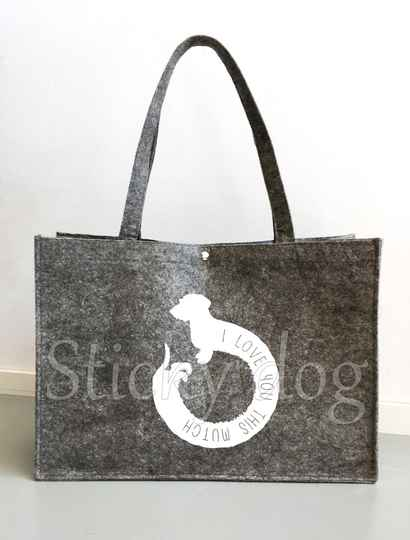 Felt bag  Wire-haired Dachshund - Teckel love you this much dog silhouette