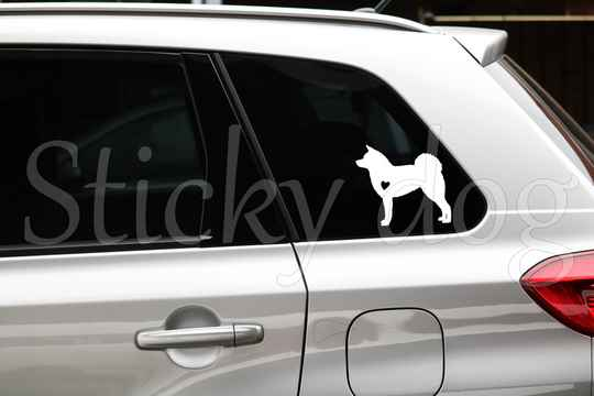Akita with heart silhouette dog sticker