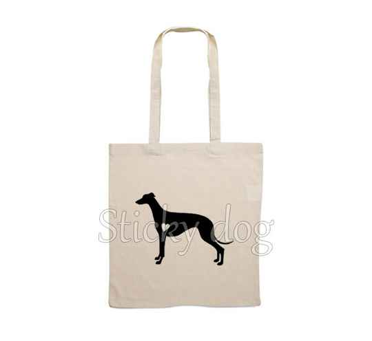 Canvas bag Greyhound with heart dog silhouette