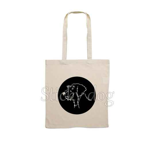Canvas bag  Wire-haired Dachshund - Teckel dog head drawing in circle