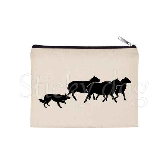 Border Collie working with sheep dog silhouette pencil bag / Beaty case / pouch