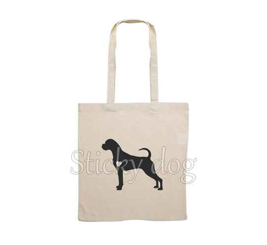 Canvas bag Boxer with heart dog silhouette