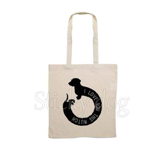 Canvas bag  Wire-haired Dachshund - Teckel dog silhouette love you this much