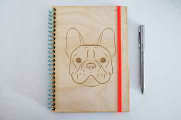 Wooden A5 notebook engraved with French Bulldog dog head
