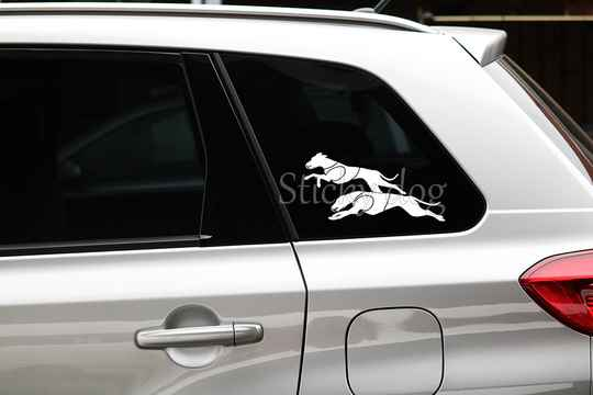 Whippet dog double running coursing silhouette sticker