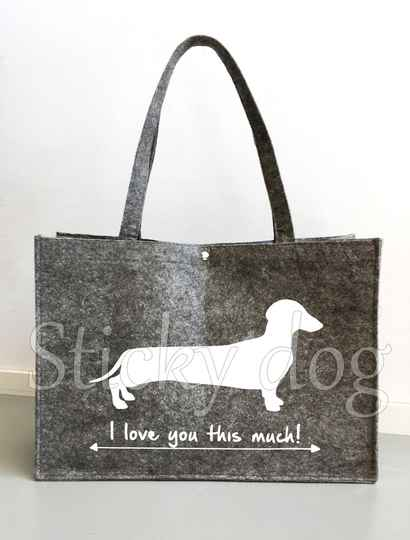 Felt bag smooth-haired Dachshund - Teckel dog silhouette love you this much