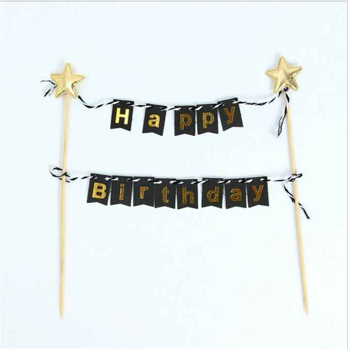 Taart topper - Happy Birthday - Zwart