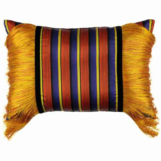 Fringed Stripes Red Pillow