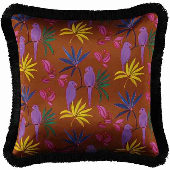 Singapore Brown Fringed silk square pillow