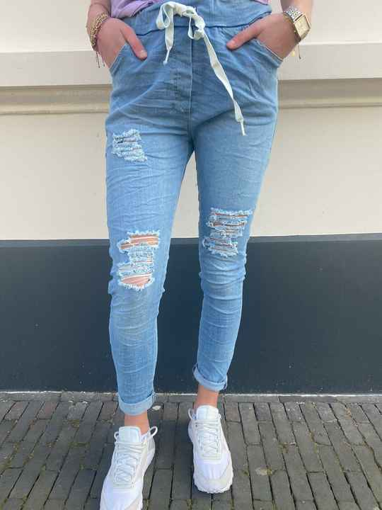 DYVIE MODE JOGGINGS LOOK JEANS RIPPED 3642