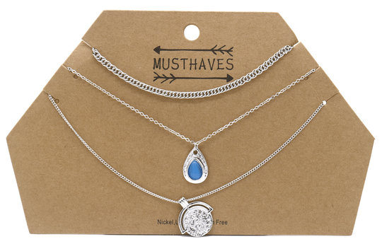 Ketting Layered with coin - zilver