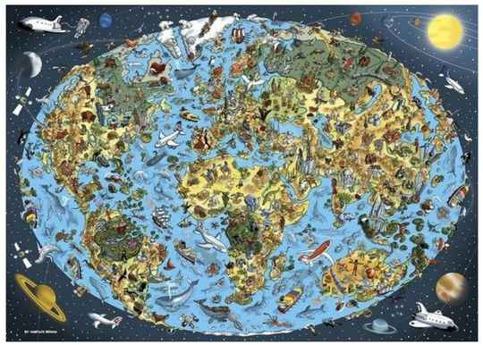 Illustrated World Map -  Puzzle 1,000 pieces gs13301
