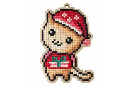 Diamond Painting hout Kitten with Christmas Hat  DP605